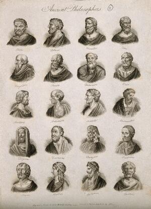view Philosophers: twenty portraits of ancient thinkers. Engraving by J.W. Cook, 1825.