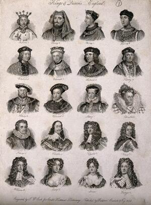 view Twenty kings and queens of England. Engraving by J.W. Cook, 1825.