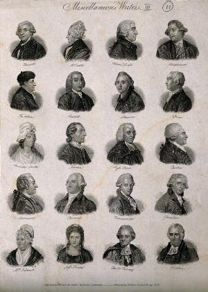 view Writers: twenty portraits. Engraving by J.W. Cook, 1825.