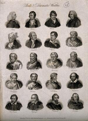 view Poets and dramatists: twenty portraits. Engraving by J.W. Cook, 1825.