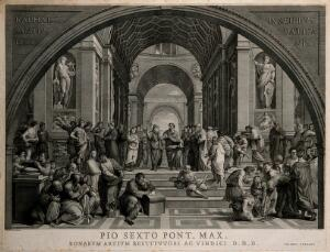 view The school of Athens: a gathering of ancient philosophers. Engraving by G. Volpato after G. Cades after Raphael.