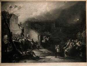 view The rescue of the young John Wesley from the burning parsonage at Epworth, Lincolnshire. Mezzotint by S.W. Reynolds after H.P. Parker.