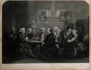 view A gathering at Joshua Reynolds's house: Oliver Goldsmith and Edmund Burke among the company. Stipple engraving by W. Walker, 1848, after J.E. Doyle.