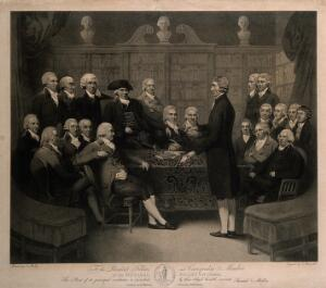 view The inaugural meeting of the Medical Society of London in the Society's Council Chamber, 1788. Engraving by N.C. Branwhite, 1801, after S. Medley, 1800.