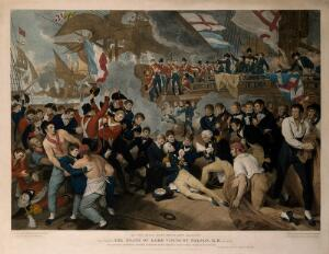 view The death of Lord Nelson on the quarter deck aboard HMS Victory at the battle of Trafalgar. Coloured engraving by J. Heath, 1811, after B. West.
