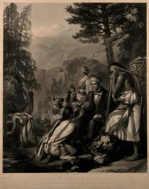 view Sir Joseph Dalton Hooker in the Rhododendron area of the Himalaya. Mezzotint by W. Walker, after F. Stone, 1854.