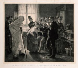 view Rabies vaccination in Pasteur's clinic in Paris. Lithograph by F. Pirodon after L.-L. Gsell.