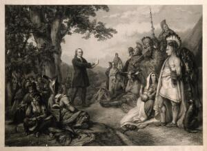 view John Wesley preaching to native American Indians. Engraving.
