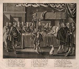 view The deathbed of Frederik Henrik, Prince of Orange, at Delft in 1647. Engraving by C. van Dalen after A.P. van de Venne.