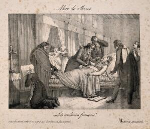 view The death of André Mazet. Lithograph, 1821.