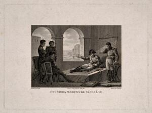 view The last moments of Napoleon Bonaparte at St Helena, 1821. Engraving by Bovinet and Couché after Gudin.
