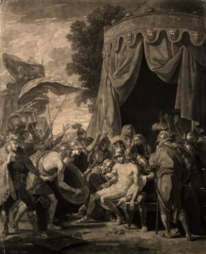 view The death of Epaminondas. Mezzotint by V. Green, 1774, after B. West.
