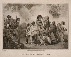 view The wounding of Lord Nelson on the deck of HMS Victory at the battle of Trafalgar. Engraving by Taylor after R. Corbould.