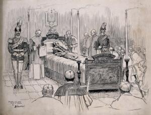 view Pope Leo XIII on his deathbed. Pen and ink drawing by F. Gillett after A. Bianchini, 1903.