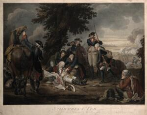 view The death of General von Schwerin, all around are soldiers. Coloured engraving by D. Berger, 1790, after J.C. Frisch.