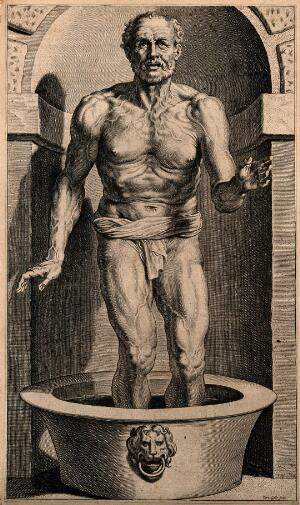 view Seneca preparing his own death in his bath. Engraving by C. Galle, 1615, after P.P. Rubens.