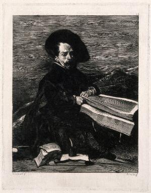 view A dwarf at the court of King Philip IV of Spain. Etching by M. Pineda Montón after D. Velazquez.