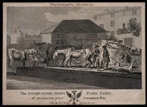 view The eccentric Baron D'Aguilar and friend amidst his starving livestock. Line engraving, 1803.
