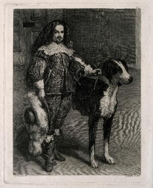 view Don Antonio, a dwarf to Philip IV. Etching by B. Maura y Montaner, 1877, after D. Velazquez.
