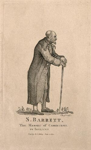 view S. Barrett, a hermit. Stipple engraving by C. Doyle, 1807.