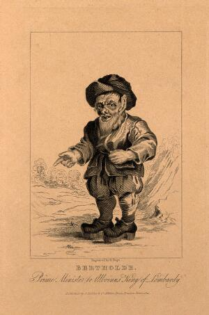 view Bertholde, a dwarf. Engraving by R. Page, 1821.
