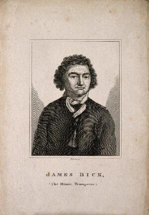 view James Bick, a mimic trumpeter. Line engraving by Grave.