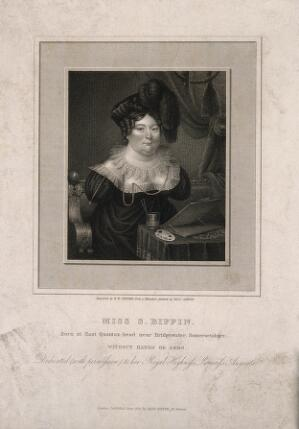 view Sarah Biffin, a limbless painter. Engraving by R.W. Sievier, 1821, after Sarah Biffin.