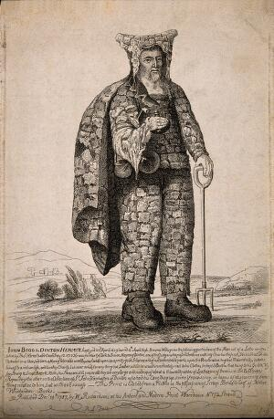 view John Bigg, an eccentric hermit. Etching attributed to R. Livesay, 1787.