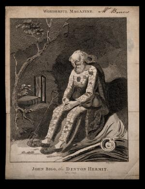 view John Bigg, an eccentric hermit. Line engraving by Wilkes.
