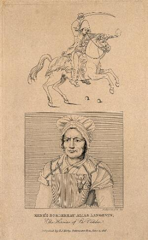 view Renée Bordereau, a female soldier. Line engraving by S. Springsguth, 1818.