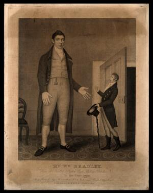 view William Bradley, a giant. Engraving by S. Freeman, 1811, after T. Peat.