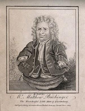 view Matthias Buchinger, a phocomelic man. Etching by G. Scott, 1804.