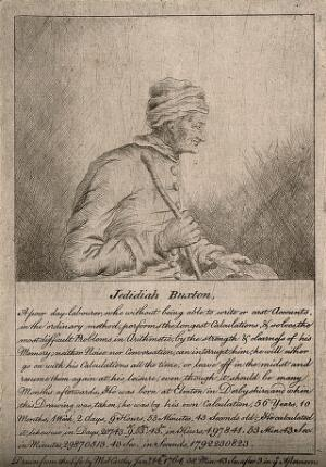 view Jedediah Buxton, a mental calculator. Etching by Mary Hartley, 1764.