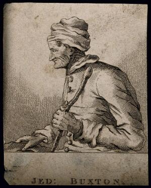 view Jedediah Buxton, a mental calculator. Etching after Mary Hartley.