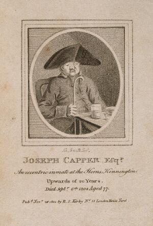 view Joseph Capper, an eccentric. Stipple engraving by G. Scott.