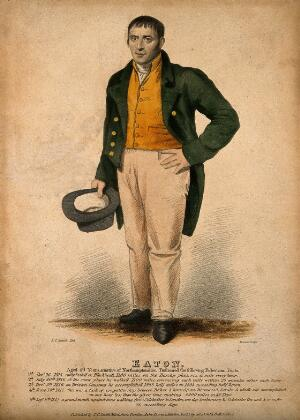 view Josiah Eaton, a long distance walker. Coloured stipple engraving by S. Freeman after T.C. Smith.
