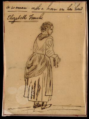 view Elizabeth French, a woman with horns. Pen drawing.