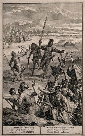view The combat between David and Goliath. Line engraving by P. Sluiter after G. Hoet.