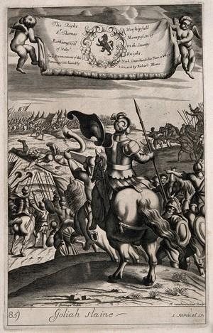 view David slaying Goliath. Line engraving by M. van der Gucht after G. Freman.