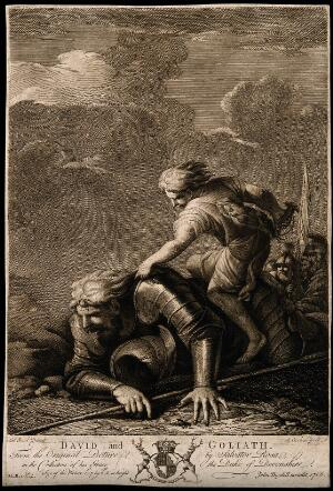 view David in combat with Goliath. Aquatint by R. Earlom, 1766, after S. Rosa.