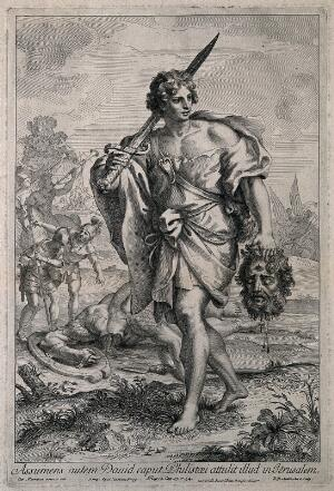 view David with the head of Goliath. Line engraving by R. van Audenaerd after C. Maratta.