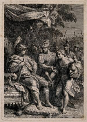 view David with the head of Goliath before Saul. Line engraving by J.L. Roullet after J. Parrocel.