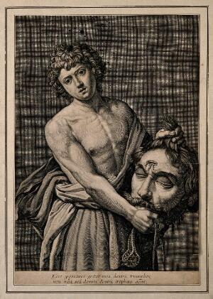 view David with the head of Goliath. Line engraving by G. Rousselet after G. Reni.