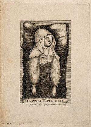 view Martha Hatfield, who had a trance from which she gained divine inspiration. Line engraving, 1794.
