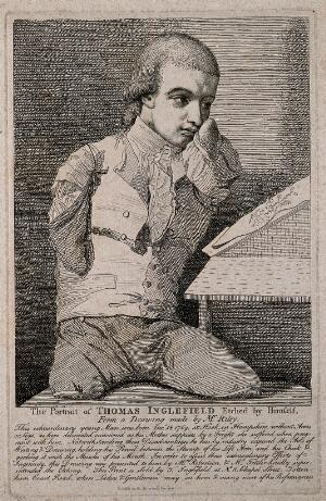 view Thomas Inglefield, an artist born without limbs. Etching by T. Inglefield, 1787, after C.R. Ryley.