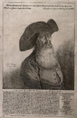 view Henry Jenkins, aged 169. Etching by T. Worlidge, 1752, after R. Walker.