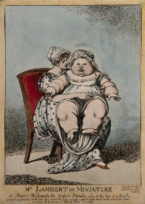 view Master Wybrants, an infant weighing 39 pounds, on his mother's knee. Coloured etching by C. Williams, 1806.