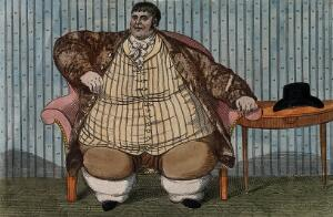 view Daniel Lambert, weighing over fifty stone, aged 36. Coloured etching.