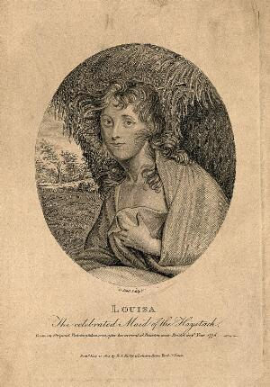 view Louisa, known as 'maid of the haystack'. Engraving by G. Scott, 1805.