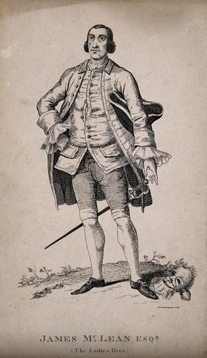 view James McLean, known as 'the gentleman highwayman'. Etching by G. Cruikshank.